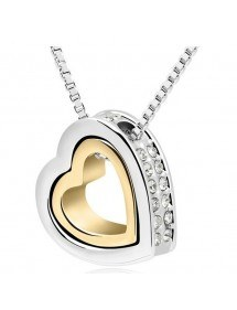 Necklace - Heart-Inlay - Diamond White - Silver/White/Gold