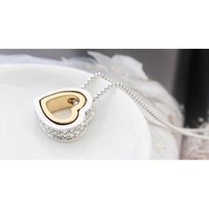 Halskette - Herz - Intarsien Diamant-Weiß - Silber/Gold/Weiß-3