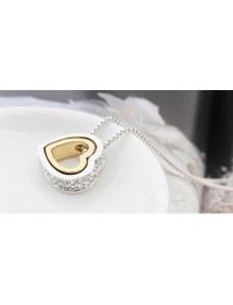 Collar - Corazón-Incrustaciones De Diamante Blanco - Plata/Blanco/Oro 3