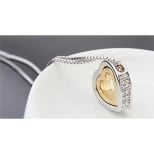 Necklace - Heart-Inlay - Diamond White - Silver/White/Gold 4