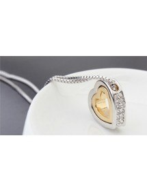 Collar - Corazón-Incrustaciones De Diamante Blanco - Plata/Blanco/Oro 4