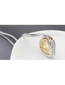Halskette - Herz - Intarsien Diamant-Weiß - Silber/Gold/Weiß 4
