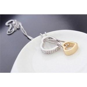 Collar - Corazón-Incrustaciones De Diamante Blanco - Plata/Blanco/Oro 5