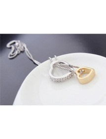 Ketting - Hart-Inlay - Diamant-Wit - Zilver/Wit/Goud 5