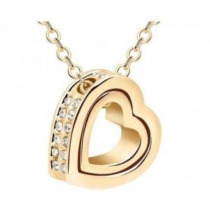 Collier - Coeur Incrusté - Diamants Blancs - Or