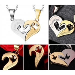 Halsband - Jag älskar dig - Par - Älskare - Hjärtan - Guld / Silver 2