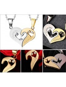 Collier - I Love You - Couple - Amoureux - Coeurs - Or/Argent 2