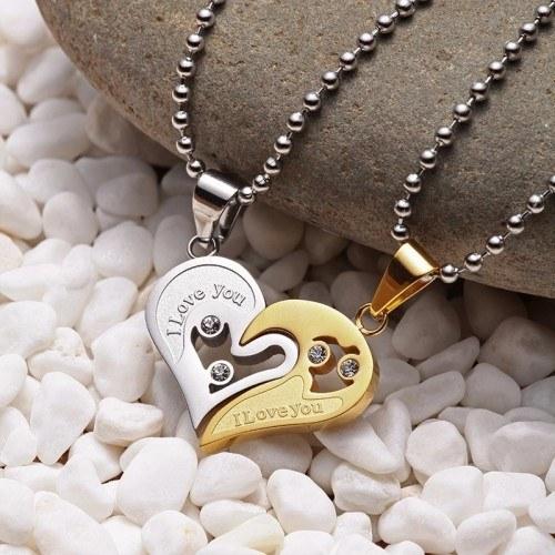 Halskette - I Love You - Paar - Liebhaber - Herzen - Gold/Silber