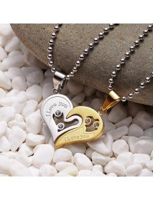 Collier - I Love You - Couple - Amoureux - Coeurs - Or/Argent