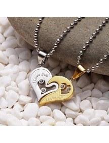 Karoliai - myliu tave - pora - meilužiai - širdys - auksas / sidabras