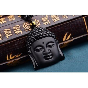 Necklace - Buddha - Premium - Obsidian - Black