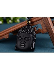 Necklace - Buddha - Premium - Obsidian - Black 2