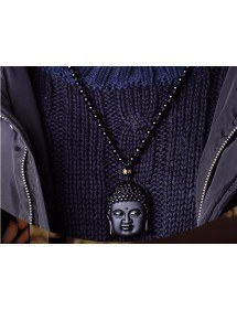 Necklace - Buddha - Premium - Obsidian - Black-3
