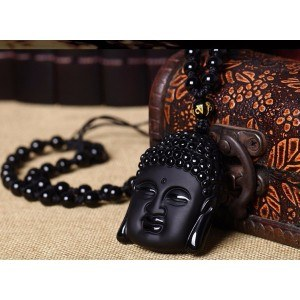 Necklace - Buddha - Premium - Obsidian - Black-5