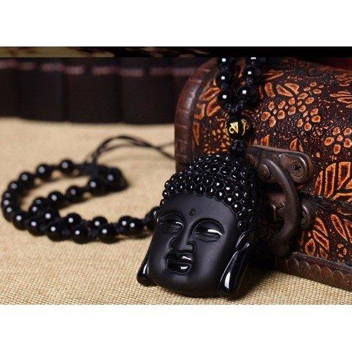 Collana Buddha - Premium - Obsidian - Nero-5